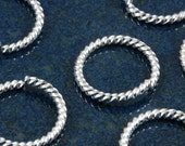 15mm Silver plated fancy twist 14 gauge jumprings (20)