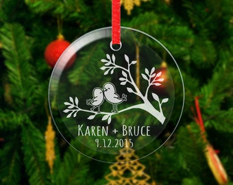 Love Birds Personalized Christmas Ornament Glass Etched First Christmas Couple Gift Boyfriend Girlfriend Engraved Names Date Wedding