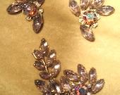 Vintage 50s Pale Lavender Rhinestone Clip Earrings and Brooch Set