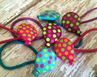 Button Hair Ties - Button Hair Clips - Ponytail Holders - Balloons - Pick your Colors & Quantity