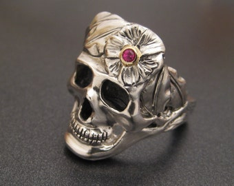 Sterling Silver Skull Ring with Ruby