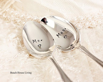 Mr. Mrs. Spoon Set. Hand Stamped Teaspoon Wedding Silverware for Mrs and Mrs, Mr and Mrs Gifts for the Couple