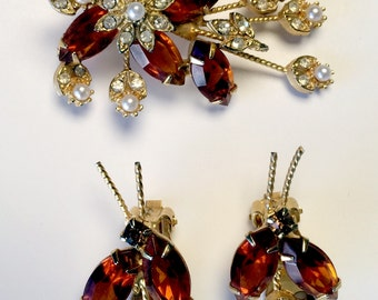 vintage, lovely pin and ear clips, 60's