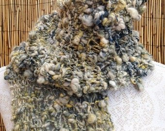 Handspun Art Yarn Scarf - Seashore - Hand Knitted Scarf - Handspun Art Yarn - OOAK