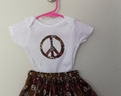 Peace Sign 2 pc Onesie and Skirt Outfit