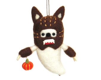Halloween ornament Wolfman : Needle felted ghost with a dark brown werewolf costume and an orange pumpkin