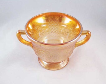 Federal Carnival Glass Iridescent Sugar Bowl Normandie Amber Circa 1933