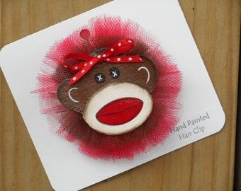 Sock Monkey Hair Clip, Hair Bow, Hairclip