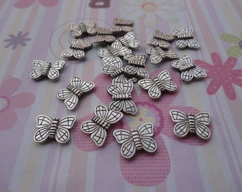 100pcs antique silver butterfly findings 15mmx11mm