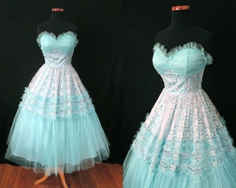 Out of this World 1950's Strapless Turquoise Lace & Tulle Party Prom Wedding Cocktail Dress Rockabilly VLV Pinup Princess Dress Size-Small