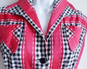 SALE 1950s french cotton summer buttonthrough dress