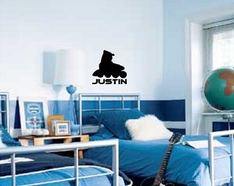 Personalized Rollerblade Wall Decal Sticker Removable Skating Wall Art(Add Custom Name)