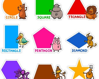 Colorful Shape Learning Stickers Removable/Repositionable Pre-School Nursery Wall Decals