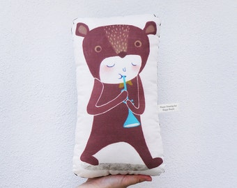 The Musicians (Bear) Linen-Cotton Canvas Personalized Pillow - Stuffed Animal - Cute Animal Cushion - Bear Shaped Pillow