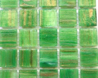 "20mm (3/4"") Spring Leaf Green and Gold Semi-Transparent Glass Mosaic Tiles//Mosaic Supplies//Crafts"