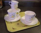 Vintage Corelle Coffee Cups & Saucers, Meadow Flowers, 1977,Set of 4, 8 Pcs