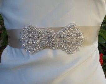 Bow Rhinestone Bridal Belt, Crystal Belt, Bridal Sash, Bridal Belt