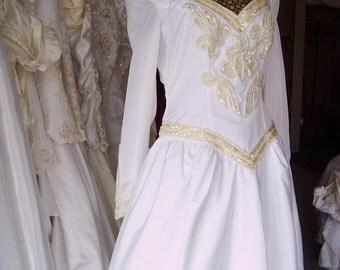 Vintage Medieval style Wedding Dress with Crinoline Slip