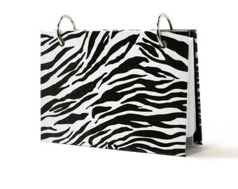 3 x 5 or 4 x 6 index card binder with a black and white zebra animal print, use for recipe storage or writing journal