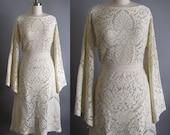 RESERVE FOR  L...Vintage 70's meets 20's Cream Lace Boho Hippie Cocktail Party Flapper Dress