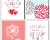 Coral Aqua Gray Girls Nursery Kids Wall Art, I'll Love You Forever, Baby Girl, Baby Room, Nursery Decor Dandelions Set of 4, Art Prints