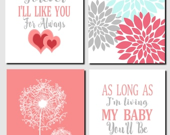 Coral Aqua Gray, Baby Girl Nursery, Kids Wall Art, I'll Love You Forever, Baby Room, Nursery Decor, Dandelions, Set of 4, Prints or Canvas