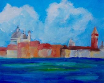 8 x 10 Modern Impressionist Original Oil Venice Italy Landscape by Rebecca Croft