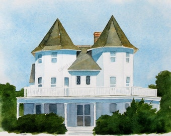 "cape may house watercolor archival print 8"" x 10"""