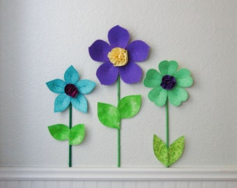 flower wall decal, girls room, nursery decor, wall flowers, 3d art. wall decor. fabric wall flower. lime green fabric flower. baby shower