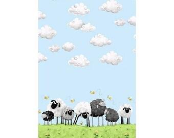 "LEWE Border ~ 100% Cotton Fabric ~ Lewe the Ewe Black and White Sheep under clouds ~ 1/2 Yard Cut ~ 18"" x 42"" by Susybee  SB20044 Blue"