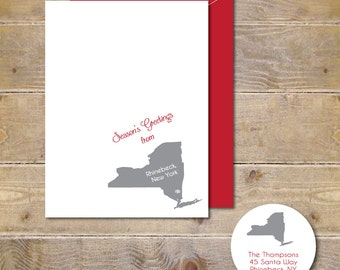 Christmas Cards, State, States, Holiday Cards, Christmas Card Set, Rustic, Christmas, Holidays, State Christmas Cards