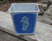 Dot art seahorse- square metal bin, painted bin, painted bucket, pail, metal storage container