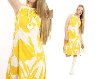 Vintage 60s 70s Sleeveless Dress Wilson Folmar Sundress Yellow White Dress Womens Summer Fashion 1960s 1970s Medium M Mod Go Go