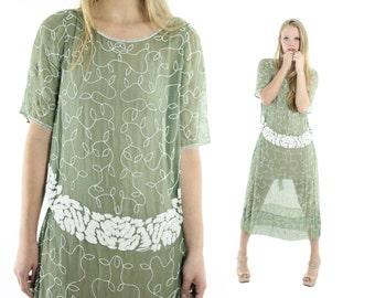 Vintage 20s Flapper Dress House of Adair France Beaded Silk Dress Sage Green Dress 1920s Great Gatsby Dress Womens Fashion