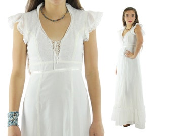 Vintage 70s Hippie Dress White Wedding Dress Festival Maxi Dress Corset Dress Gauze Dress 1970s Bohemian Fashion Small S Sleeveless Dress