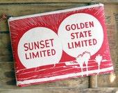 Red Sunset Large Canvas Zipper Clutch Purse California Southwestern Vintage Advertisement Screenprint Zipper iPad Pouch Accessories