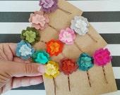 Set of 4 - Felt flower hairpins - small flower bobby pins - custom color -flower girl hair accessory