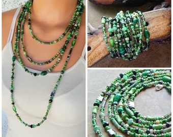 Multistrand necklace, beaded wrap bracelet, staement necklace, green and black, layering necklace, xxxl neck wrist wrap extra long necklace