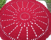 Claret Crochet Doily Rug, Maroon Round Floor Rug by Crocheted by Charlene