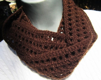 Brown Scarf, Thin Brown Sparkly Infinity Scarf, Lightweight Indoor or Outdoor Dark Brown Neckwear with Cooper Glitter