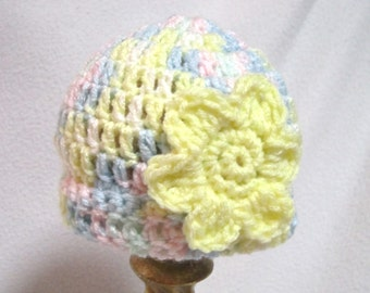 Pastel Baby Hat, Crochet Infant Cap in Pastels with Yellow Flower, MADE TO ORDER by Charlene, Photo Prop, Home from Hospital Cuffed Hat