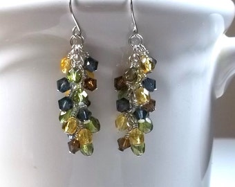 Long Dangle Cluster Earrings for Fall Swarovski Crystal Czech Glass Beaded