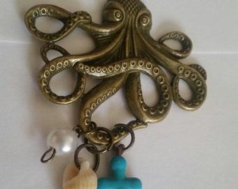 Bronze Octopus Necklace, Octopus Jewelry, Kraken , Big Octopus FREE SHIPPING