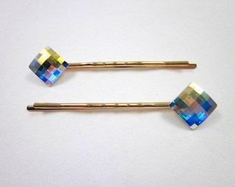 Elegant Hair Pin -- Rainbow Hair Pin -- Colorful Hair Pin -- AB Hair Pin -- Multicolor Hair Pin -- Swarovski AB Pin -- AB Crystal Hair Pin