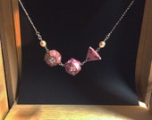 Coral and Pink Nerdy Dice and Pearls Silver Necklace