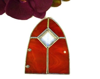 Gnome door fairy door stained glass wood grain large for Large gnome doors