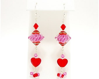 Pink and Red Earrings, Red Heart Earrings, Lampwork Earrings, Beadwork Earrings, Dangle Earrings, Long Drop Earrings, Valentine Earrings