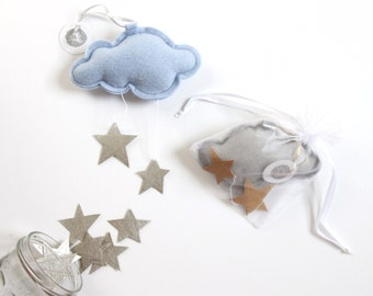 Mini Star Cloud - keepsake ornament or nursery decor in metallic faux leather vinyl and felt - choose your color- Free US Shipping