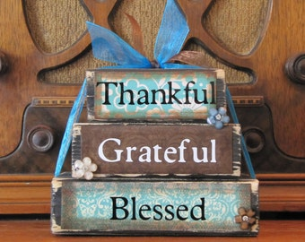 "Inspirational Sign, Encouragement Gift, Thankful, Grateful, Blessed Word Stacker 5.5"" wide and 4.5"" tall"