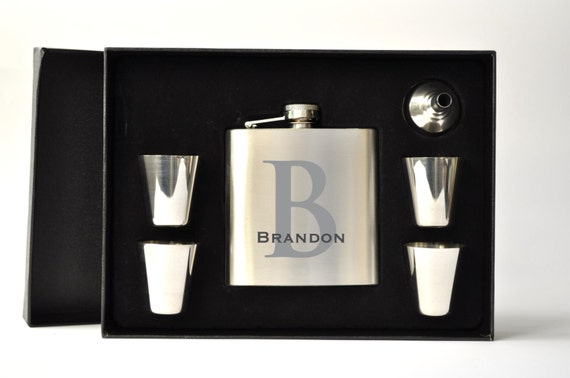 Personalized Flask Set with Shot Glasses Great for Father's Day or Groomsman Gift